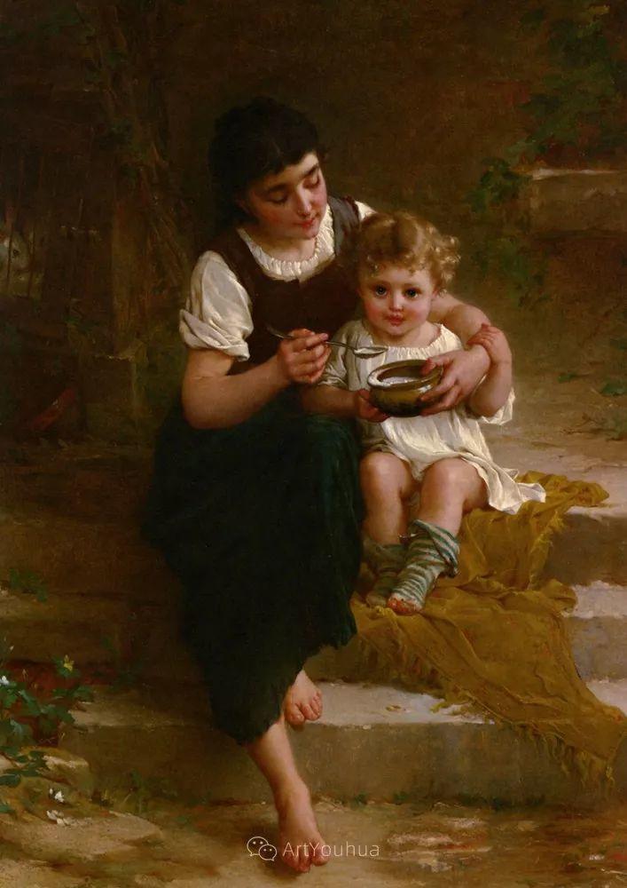 他笔下儿童、母亲形象个个可爱温馨,法国画家Emile Munier插图28