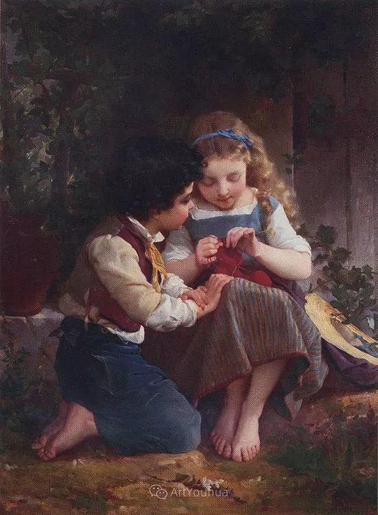 他笔下儿童、母亲形象个个可爱温馨,法国画家Emile Munier插图29