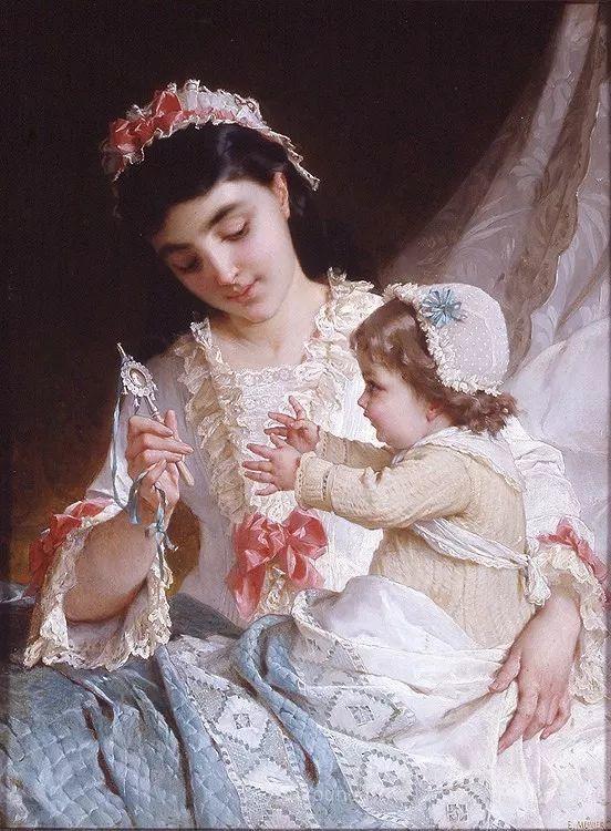 他笔下儿童、母亲形象个个可爱温馨,法国画家Emile Munier插图30