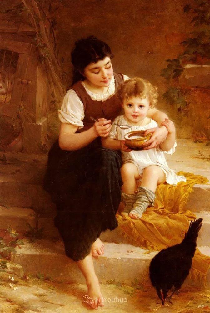 他笔下儿童、母亲形象个个可爱温馨,法国画家Emile Munier插图31