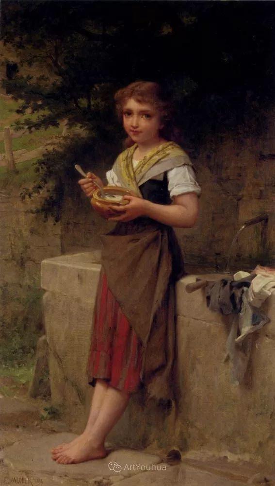 他笔下儿童、母亲形象个个可爱温馨,法国画家Emile Munier插图32
