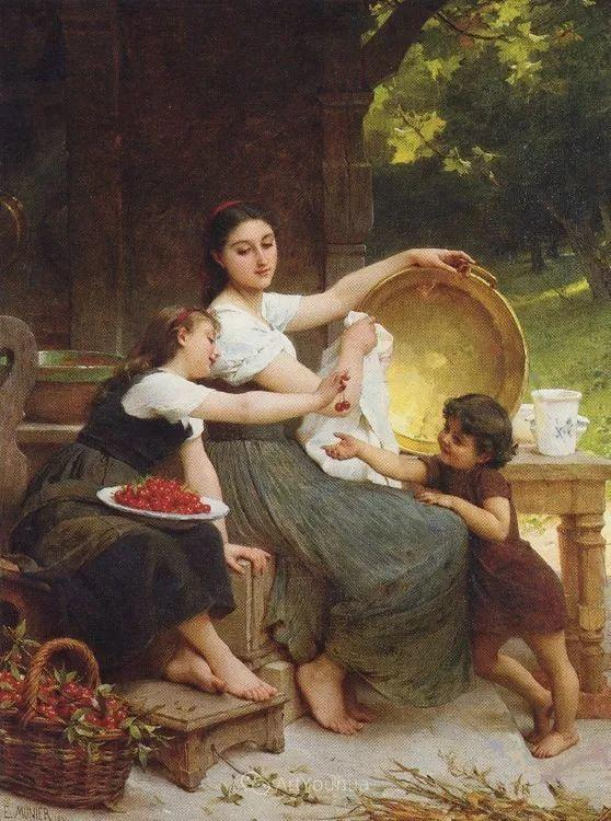 他笔下儿童、母亲形象个个可爱温馨,法国画家Emile Munier插图33