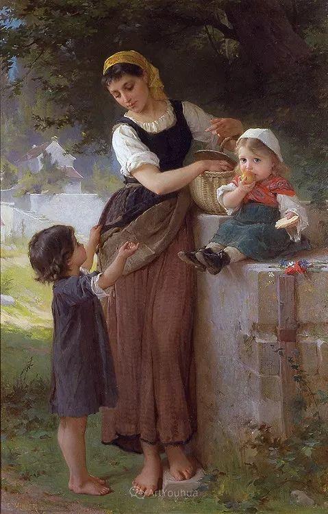 他笔下儿童、母亲形象个个可爱温馨,法国画家Emile Munier插图34