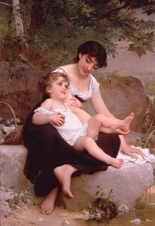 他笔下儿童、母亲形象个个可爱温馨,法国画家Emile Munier插图35