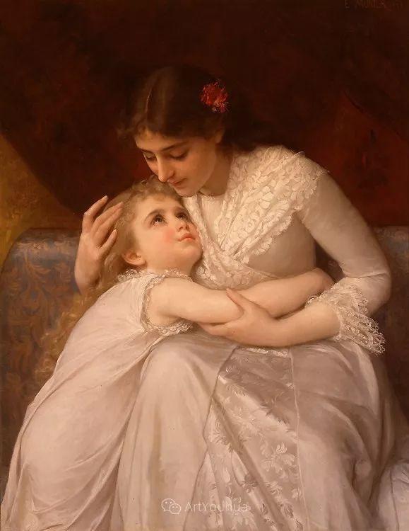 他笔下儿童、母亲形象个个可爱温馨,法国画家Emile Munier插图36