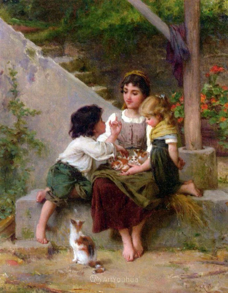 他笔下儿童、母亲形象个个可爱温馨,法国画家Emile Munier插图37