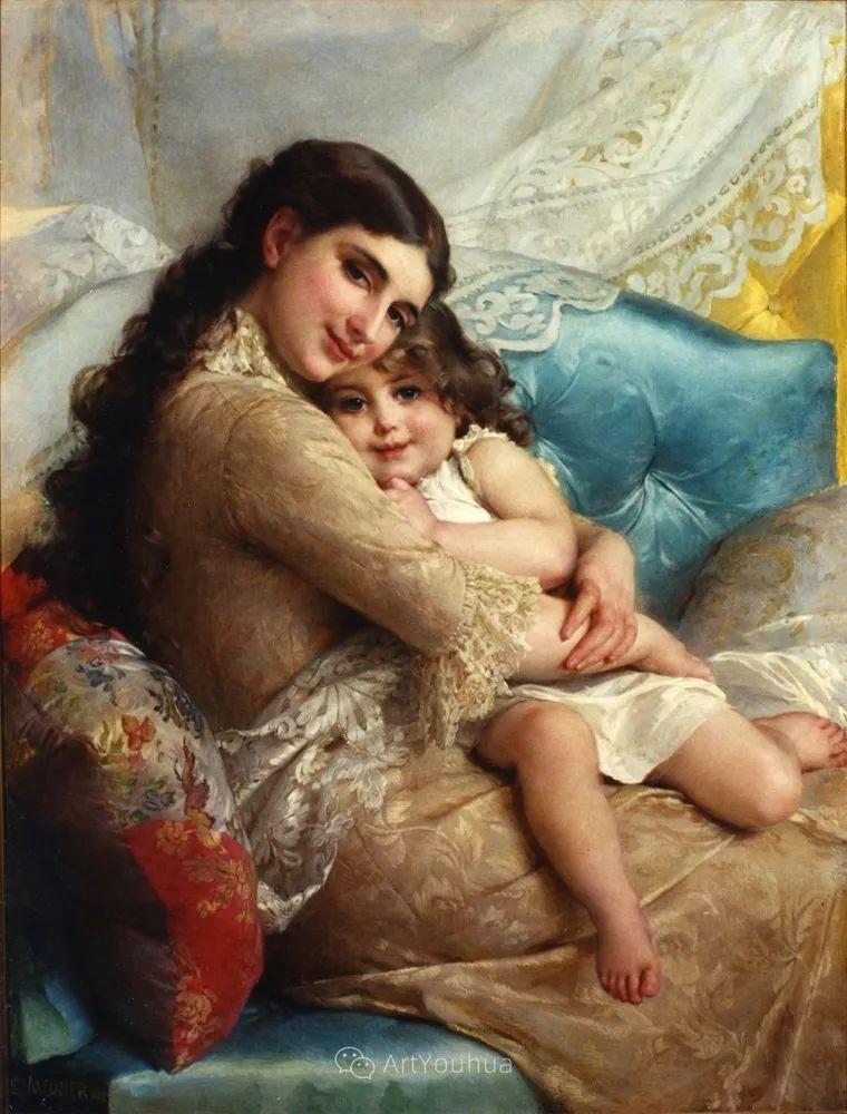 他笔下儿童、母亲形象个个可爱温馨,法国画家Emile Munier插图38