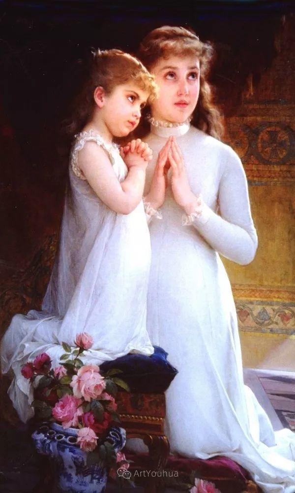 他笔下儿童、母亲形象个个可爱温馨,法国画家Emile Munier插图39