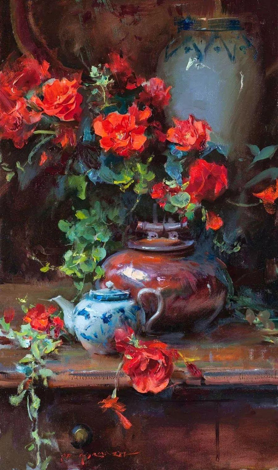 很温暖的静物花卉,美国画家Daniel F.Gerhartz插图