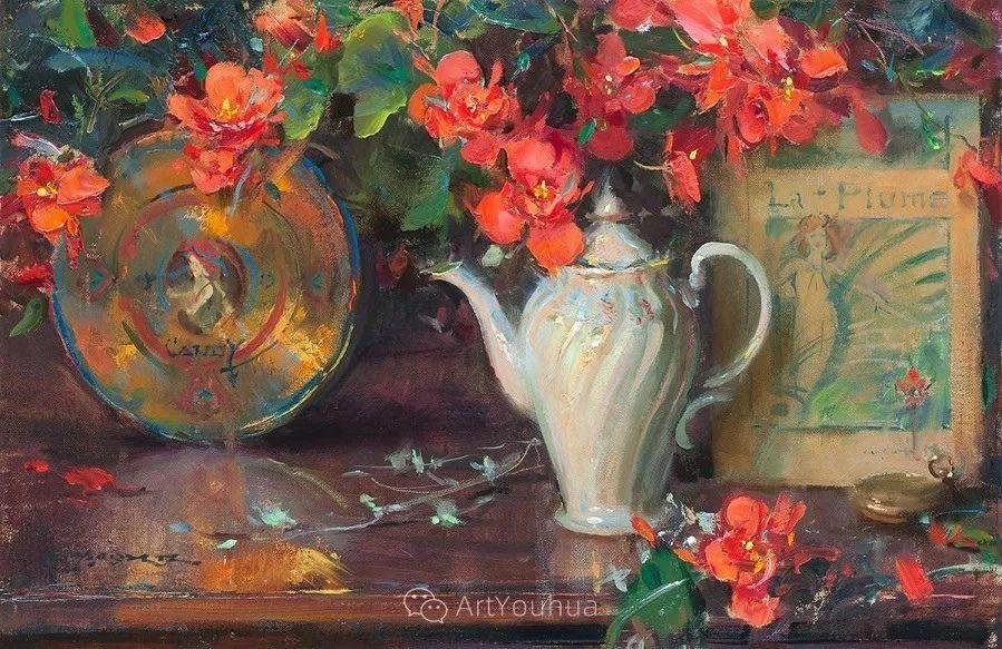 很温暖的静物花卉,美国画家Daniel F.Gerhartz插图4