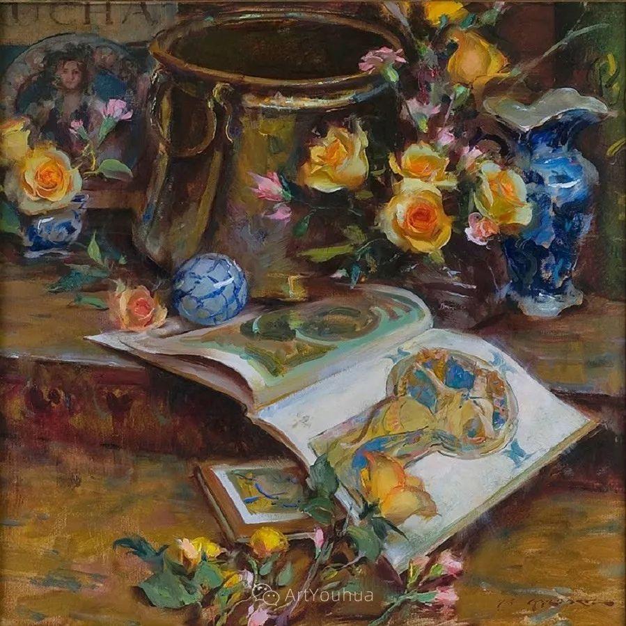 很温暖的静物花卉,美国画家Daniel F.Gerhartz插图8