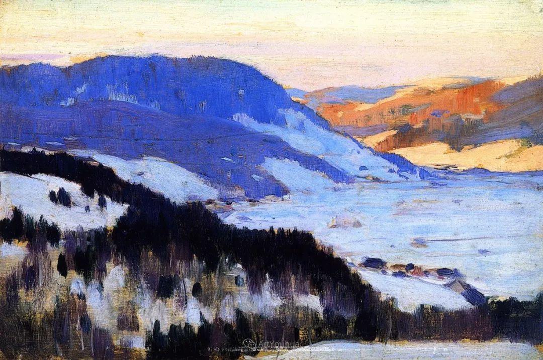 他笔下的冬季景观,很不一样,美!法裔加拿大画家Clarence Alphonse Gagnon插图9