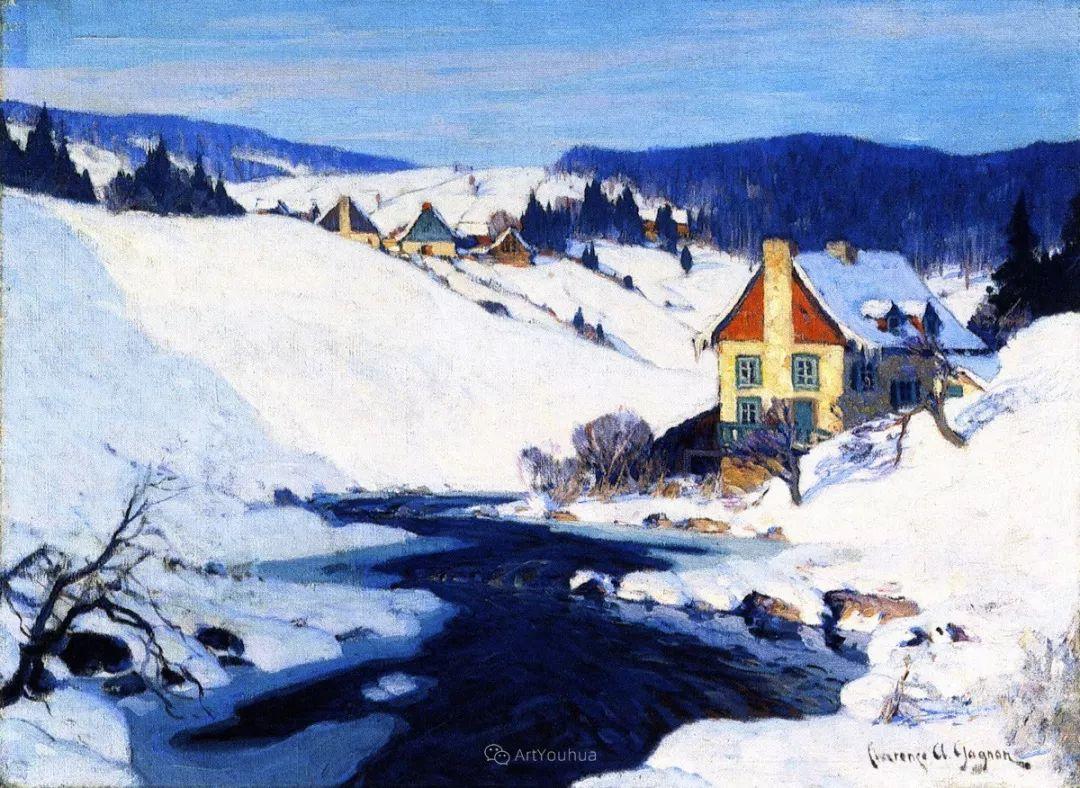 他笔下的冬季景观,很不一样,美!法裔加拿大画家Clarence Alphonse Gagnon插图11