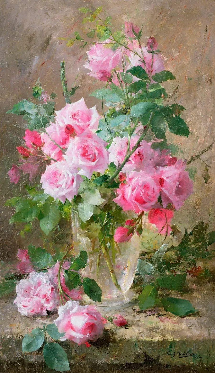 美丽的玫瑰花,印象派和现实主义之间——比利时Frans Mortelmans插图
