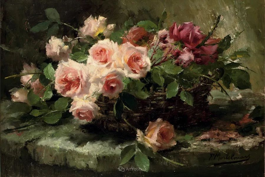 美丽的玫瑰花,印象派和现实主义之间——比利时Frans Mortelmans插图1