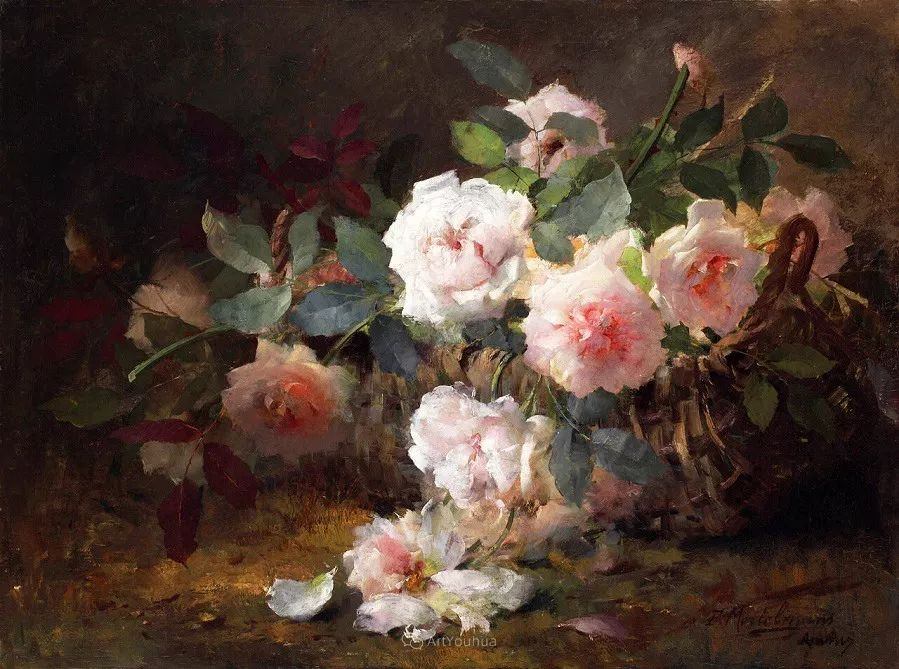 美丽的玫瑰花,印象派和现实主义之间——比利时Frans Mortelmans插图5