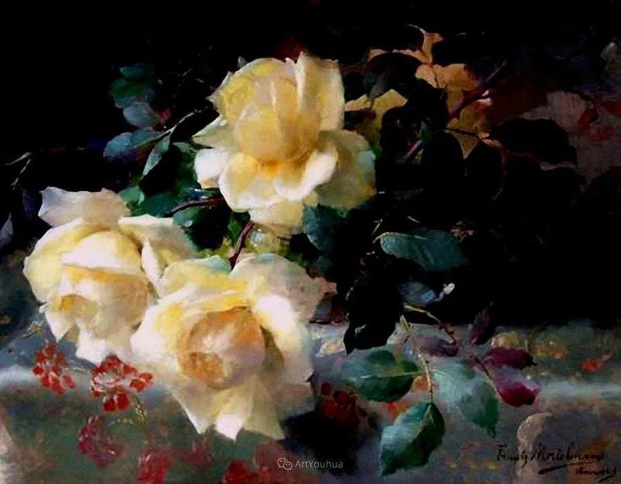 美丽的玫瑰花,印象派和现实主义之间——比利时Frans Mortelmans插图7