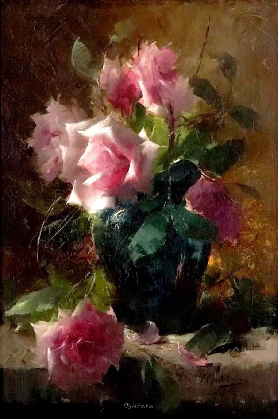 美丽的玫瑰花,印象派和现实主义之间——比利时Frans Mortelmans插图4