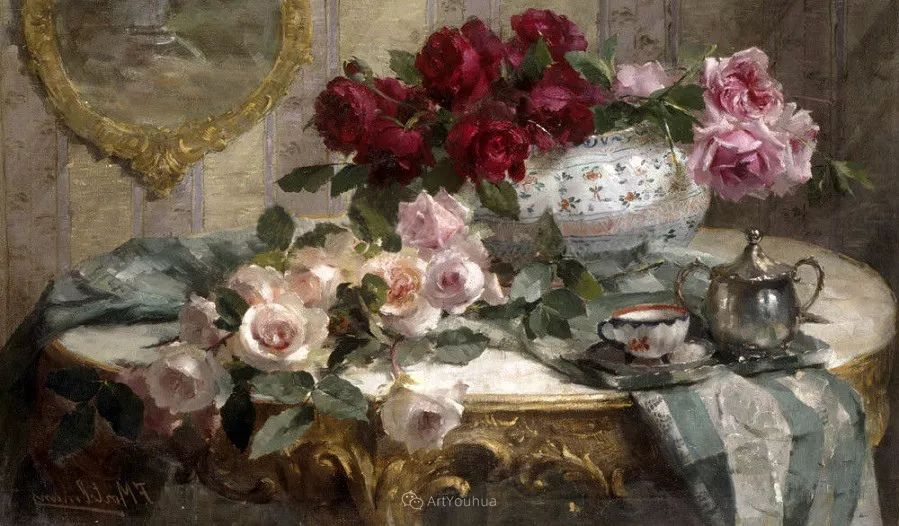 美丽的玫瑰花,印象派和现实主义之间——比利时Frans Mortelmans插图13
