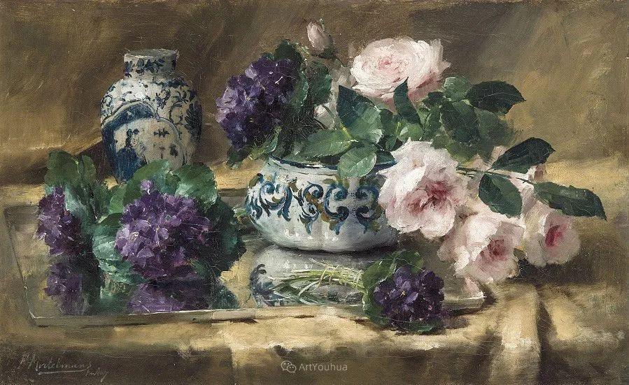 美丽的玫瑰花,印象派和现实主义之间——比利时Frans Mortelmans插图8