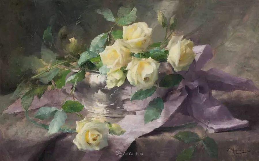 美丽的玫瑰花,印象派和现实主义之间——比利时Frans Mortelmans插图11