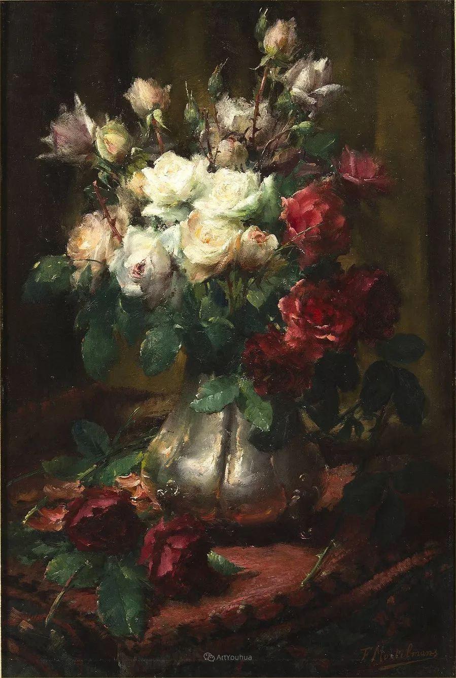 美丽的玫瑰花,印象派和现实主义之间——比利时Frans Mortelmans插图12