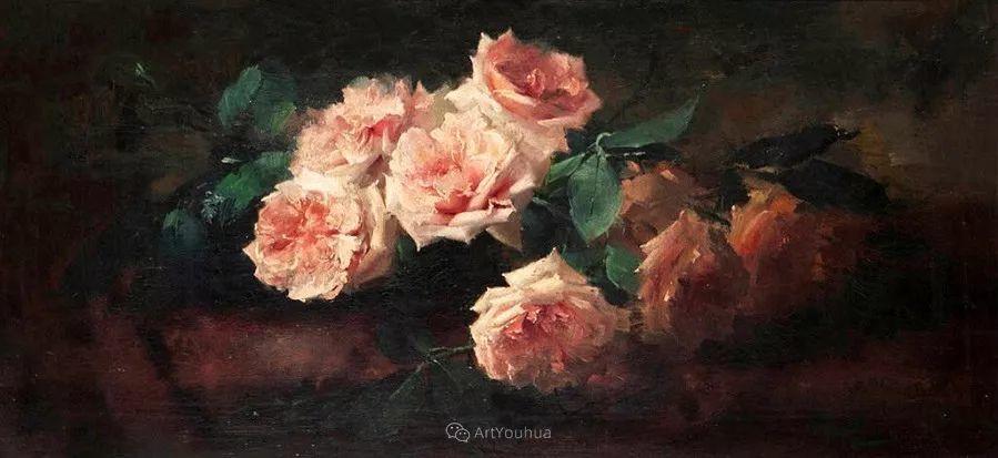 美丽的玫瑰花,印象派和现实主义之间——比利时Frans Mortelmans插图14