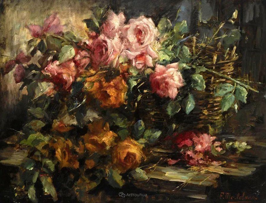 美丽的玫瑰花,印象派和现实主义之间——比利时Frans Mortelmans插图18
