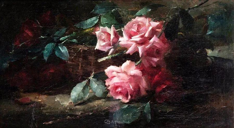 美丽的玫瑰花,印象派和现实主义之间——比利时Frans Mortelmans插图20