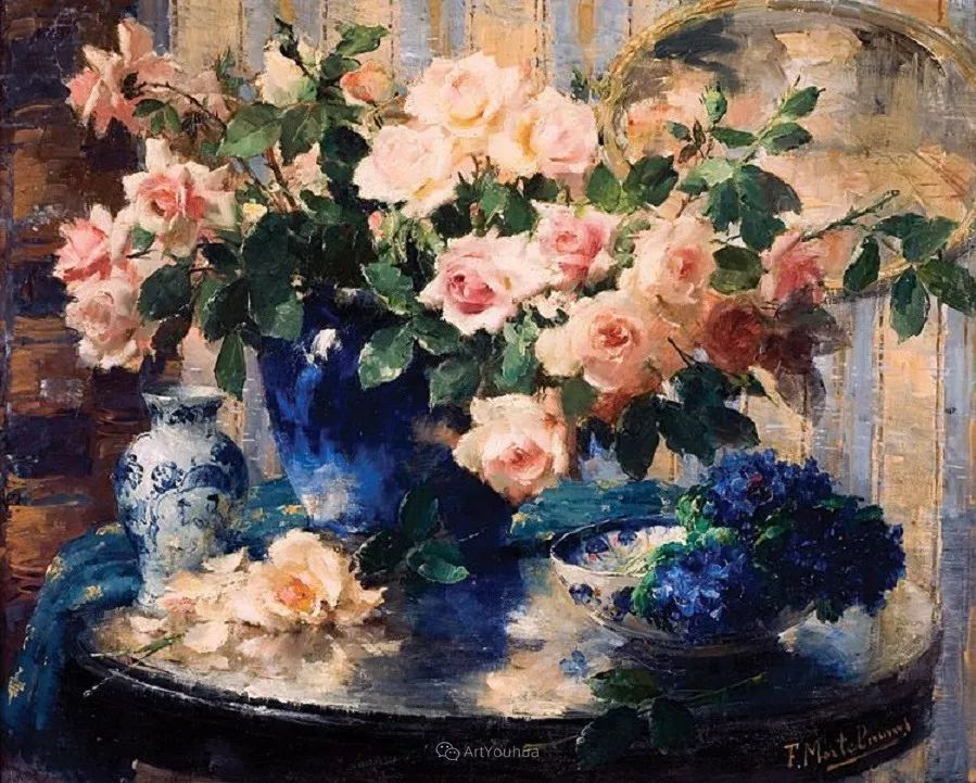 美丽的玫瑰花,印象派和现实主义之间——比利时Frans Mortelmans插图23