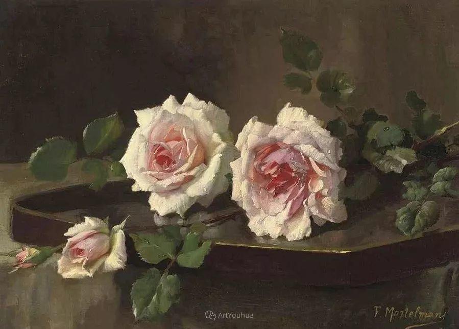美丽的玫瑰花,印象派和现实主义之间——比利时Frans Mortelmans插图24
