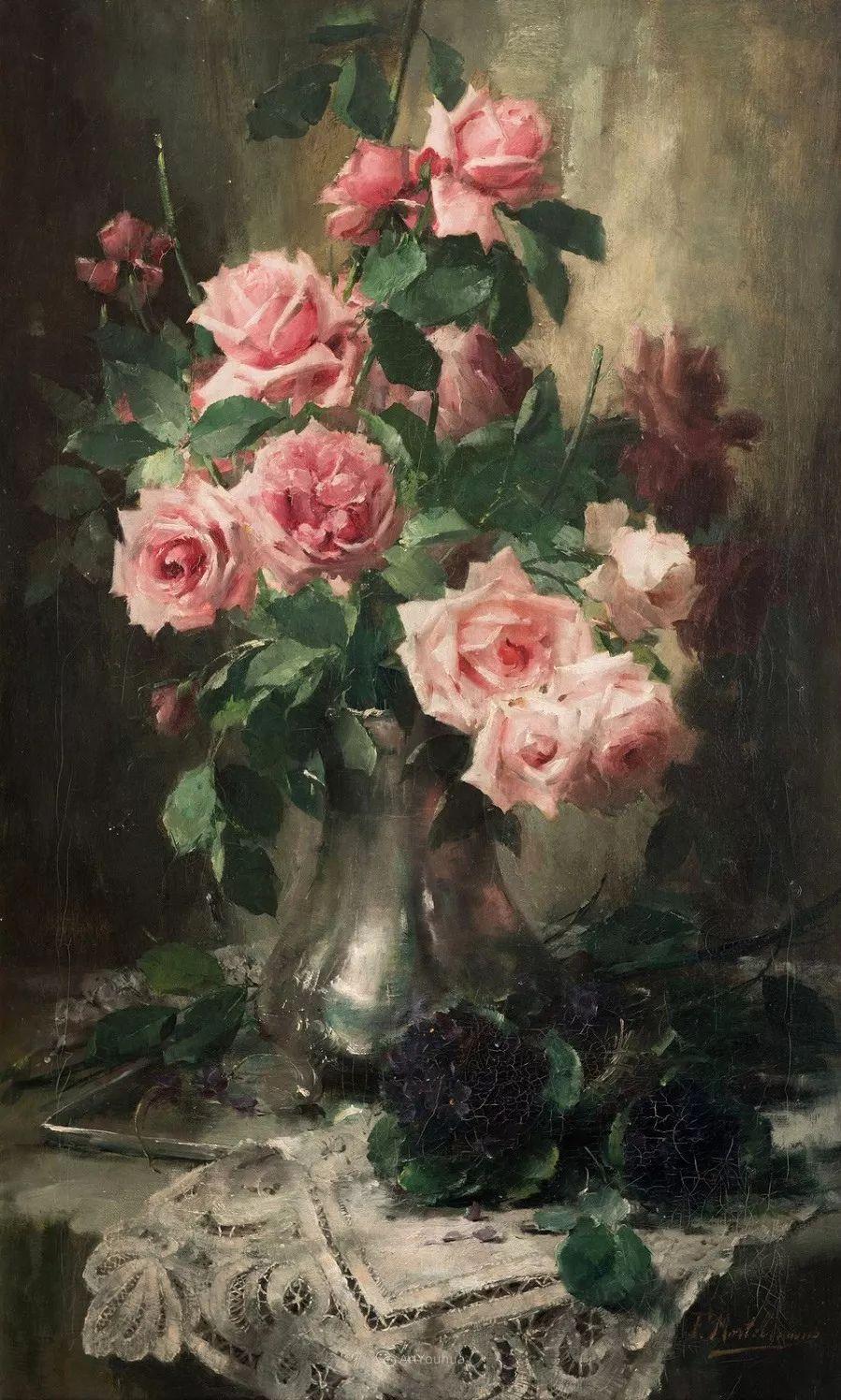 美丽的玫瑰花,印象派和现实主义之间——比利时Frans Mortelmans插图27