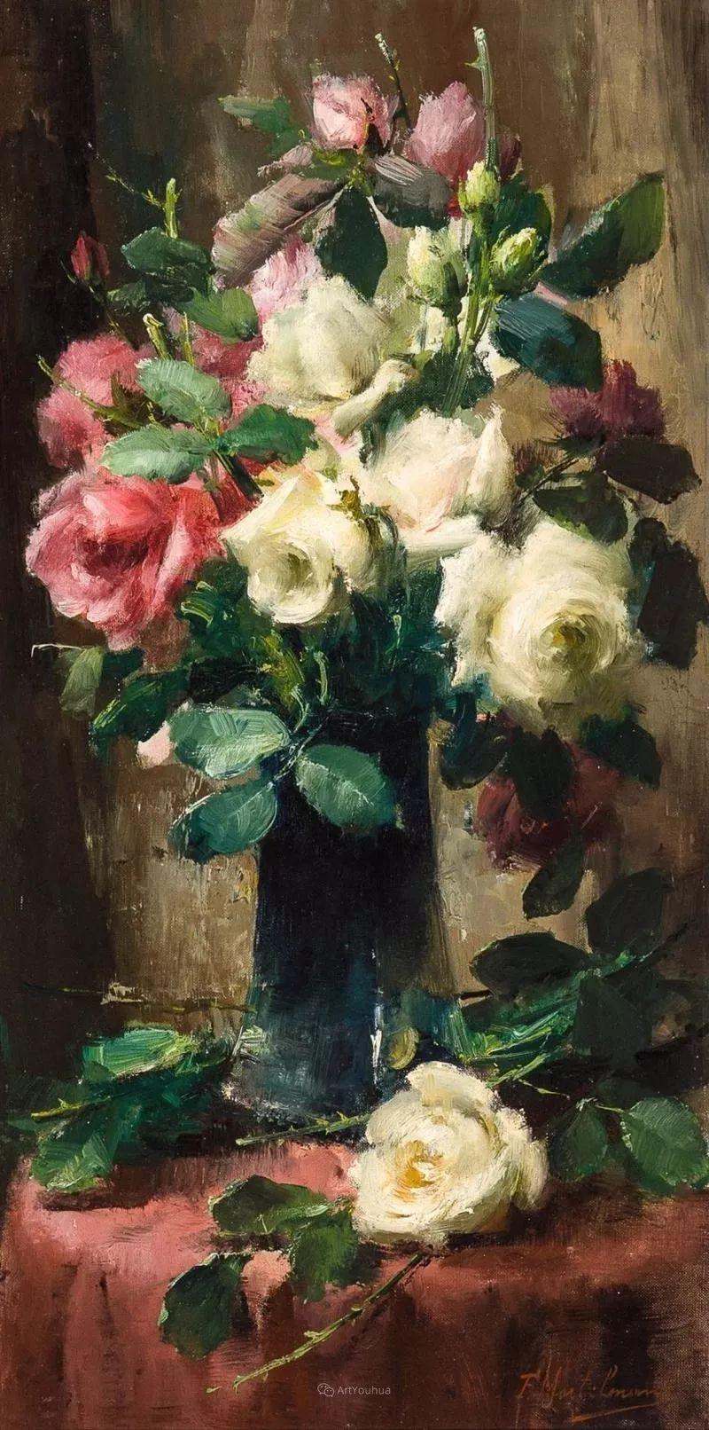 美丽的玫瑰花,印象派和现实主义之间——比利时Frans Mortelmans插图59