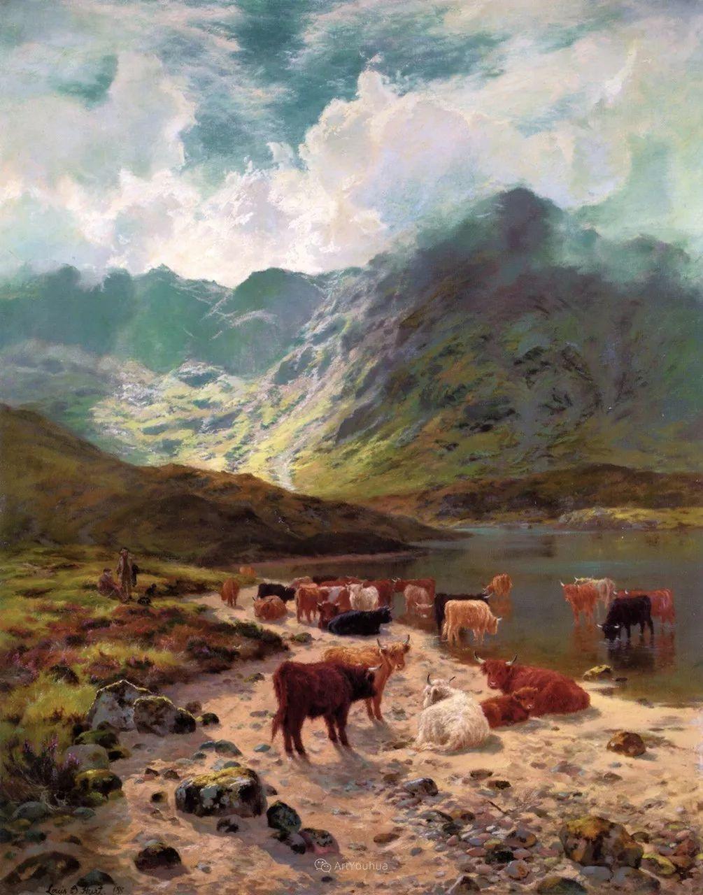 高地牛与风景的完美融合,太壮观了!英国画家Louis Bosworth Hurt插图