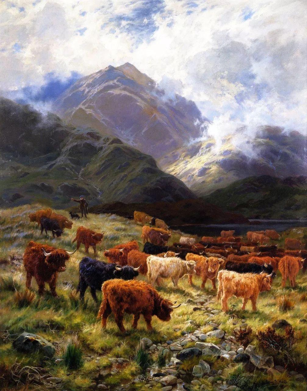 高地牛与风景的完美融合,太壮观了!英国画家Louis Bosworth Hurt插图1