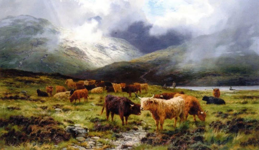 高地牛与风景的完美融合,太壮观了!英国画家Louis Bosworth Hurt插图2