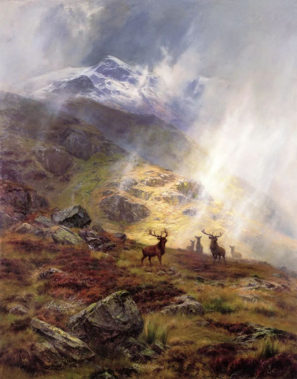 高地牛与风景的完美融合,太壮观了!英国画家Louis Bosworth Hurt插图4