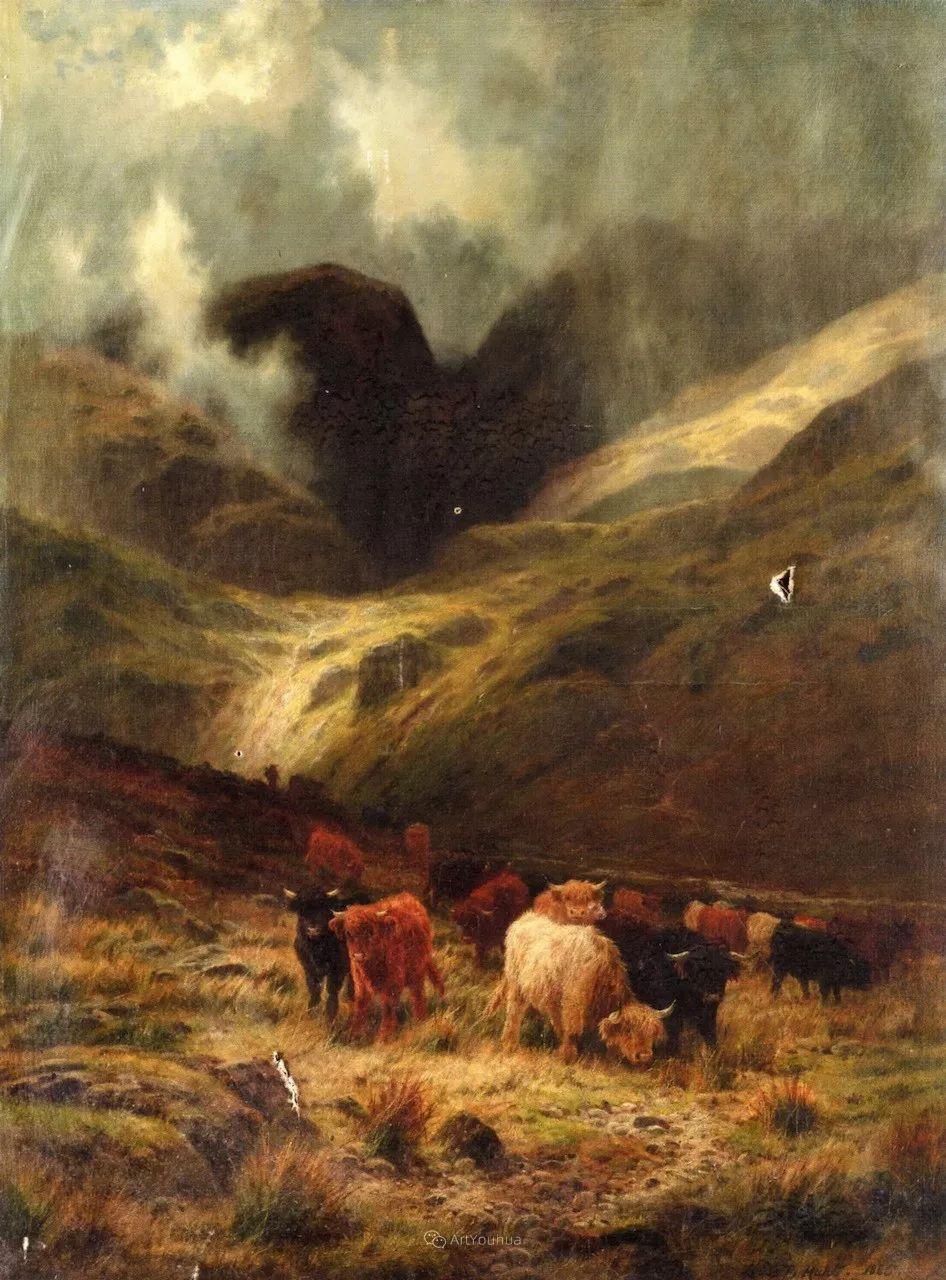 高地牛与风景的完美融合,太壮观了!英国画家Louis Bosworth Hurt插图8