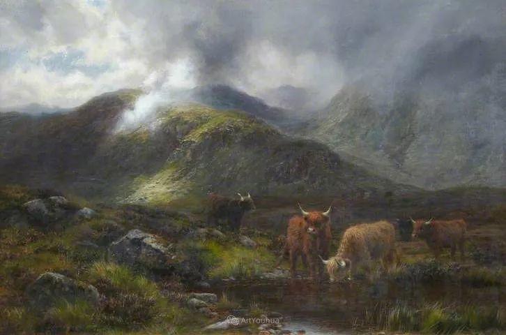 高地牛与风景的完美融合,太壮观了!英国画家Louis Bosworth Hurt插图14