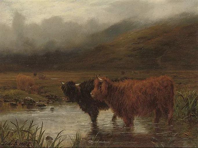 高地牛与风景的完美融合,太壮观了!英国画家Louis Bosworth Hurt插图15