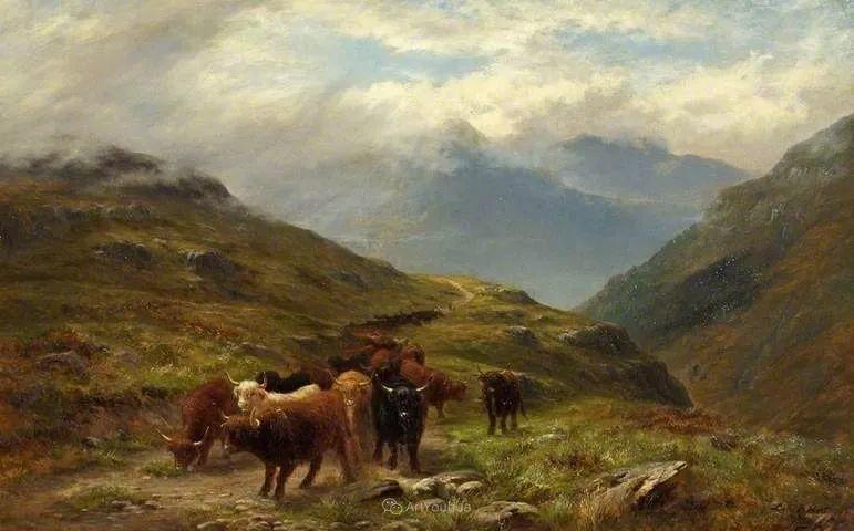 高地牛与风景的完美融合,太壮观了!英国画家Louis Bosworth Hurt插图16