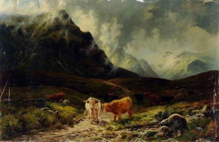高地牛与风景的完美融合,太壮观了!英国画家Louis Bosworth Hurt插图29