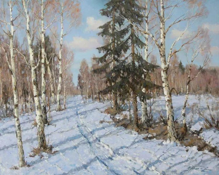 雪景油画,俄罗斯Alexander Kremer插图