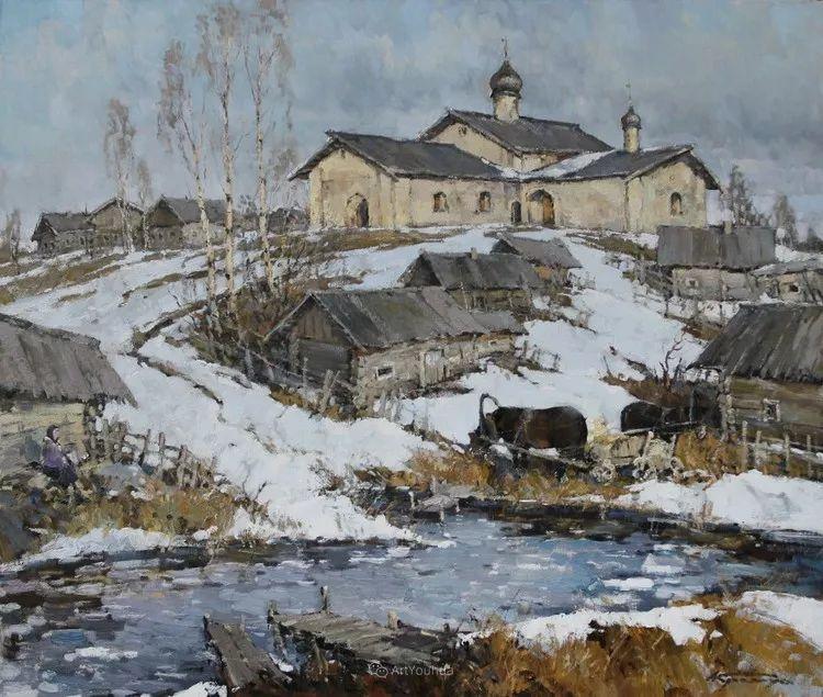 雪景油画,俄罗斯Alexander Kremer插图2