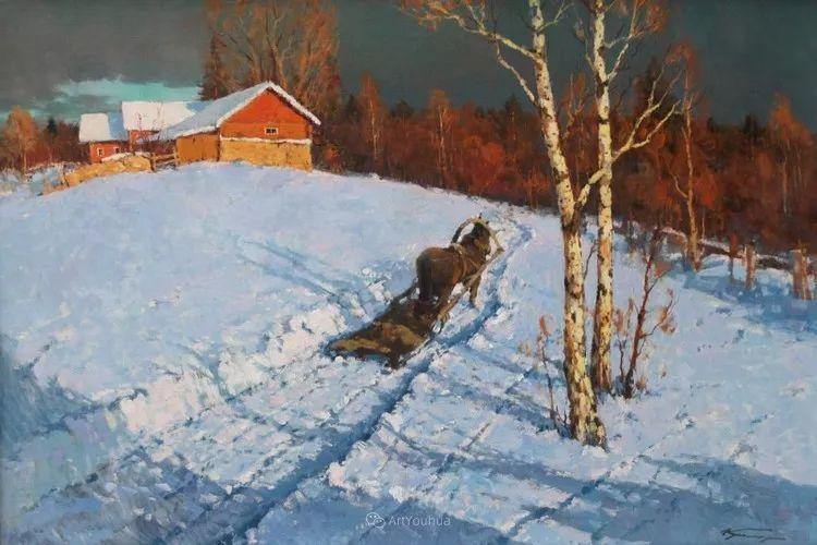 雪景油画,俄罗斯Alexander Kremer插图4