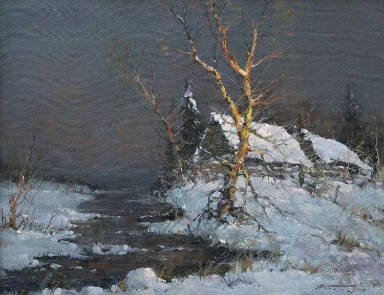 雪景油画,俄罗斯Alexander Kremer插图13