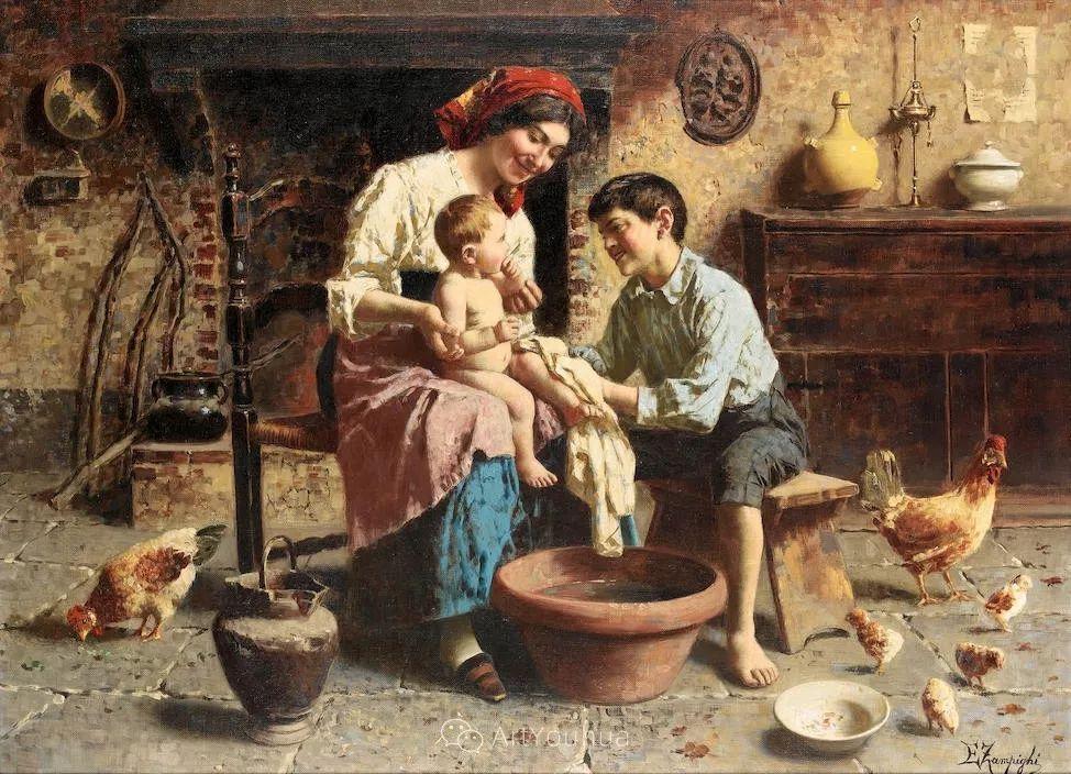 他把普通人的生活,画得如此欢乐、温馨、幸福,意大利画家Eugenio Zampighi插图