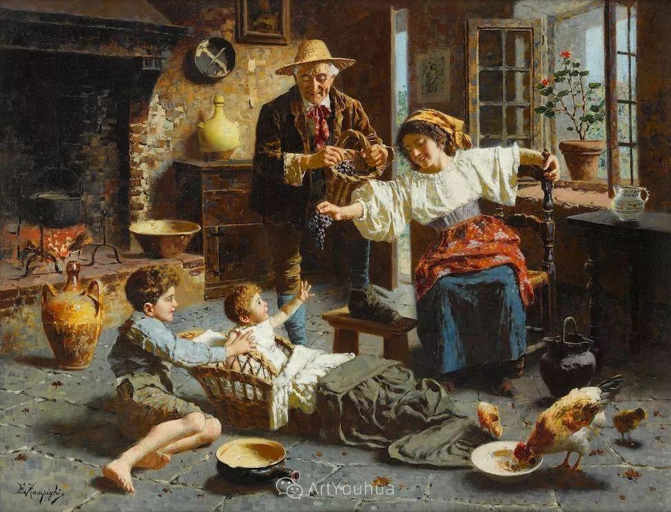 他把普通人的生活,画得如此欢乐、温馨、幸福,意大利画家Eugenio Zampighi插图1