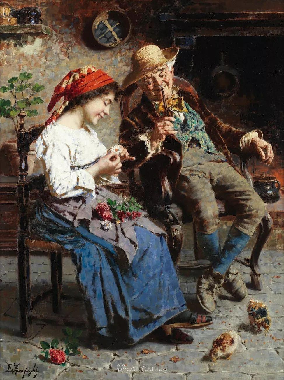 他把普通人的生活,画得如此欢乐、温馨、幸福,意大利画家Eugenio Zampighi插图2