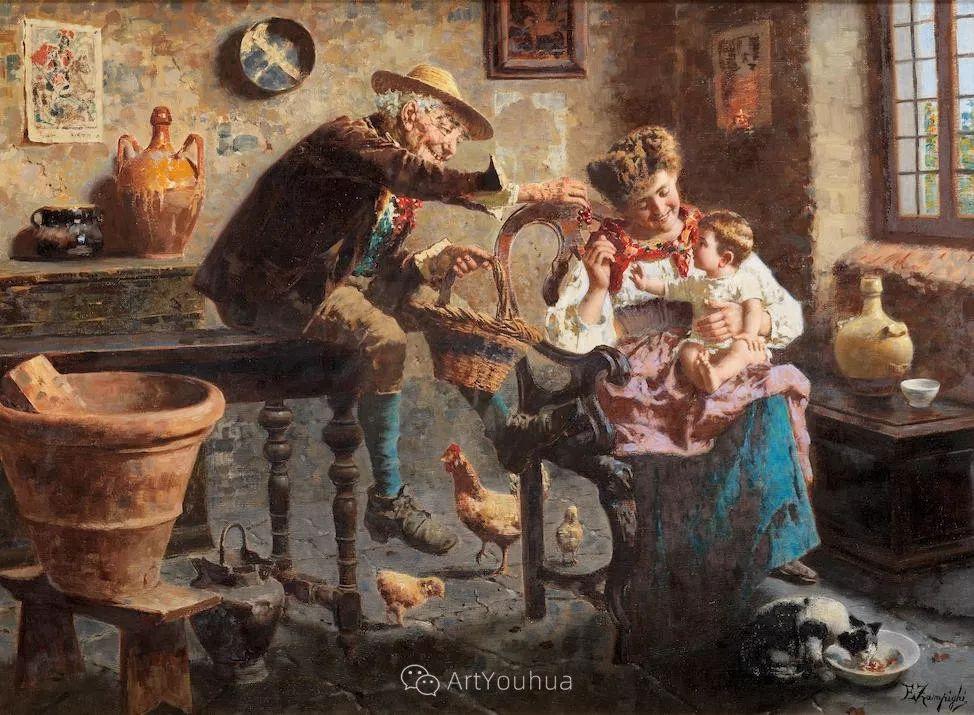 他把普通人的生活,画得如此欢乐、温馨、幸福,意大利画家Eugenio Zampighi插图4